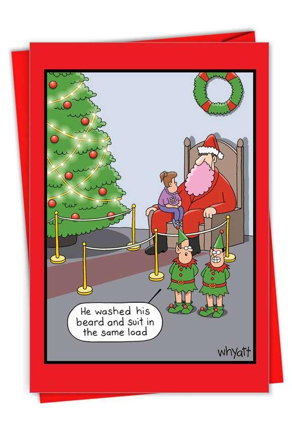 Pink Beard: Hilarious Merry Christmas Printed Greeting Card