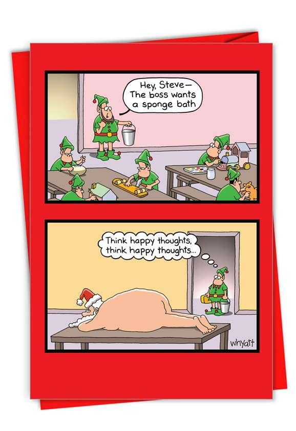 Sponge Bath: Hysterical Merry Christmas Printed Greeting Card