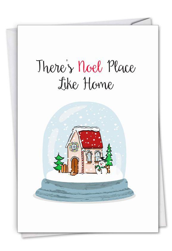 Punny Holidays - Snowglobe: Stylish Merry Christmas Paper Greeting Card