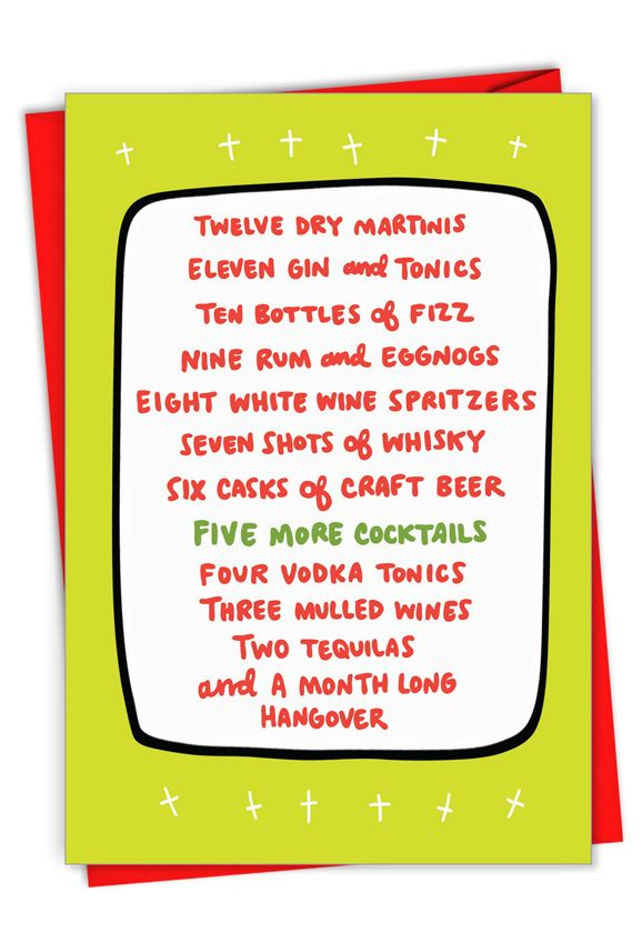 Twelve Days of Drinking: Hilarious Merry Christmas Printed Greeting Card