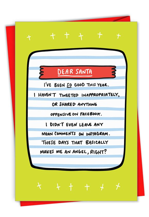 Social Media Angel: Hilarious Merry Christmas Printed Card