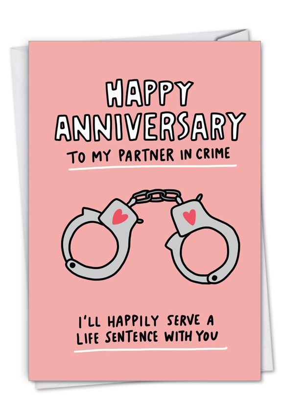 Partner In Crime: Hilarious Anniversary Printed Greeting Card