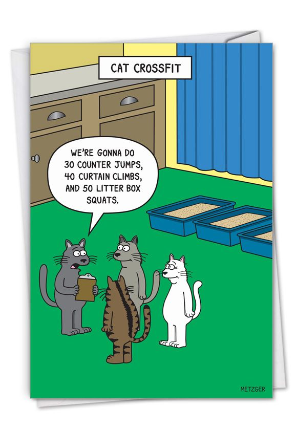 Cat Crossfit: Hysterical Birthday Printed Card