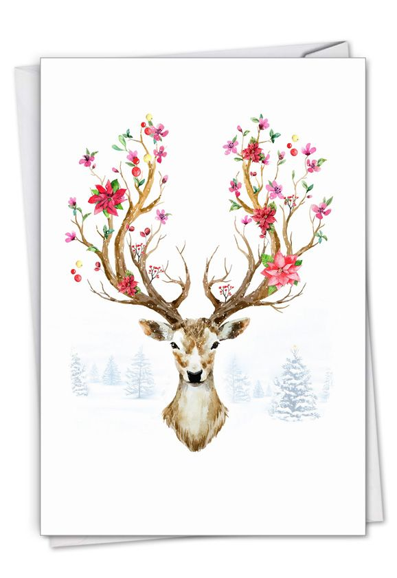 Blooming Reindeer - Branches: Creative Merry Christmas Printed Card