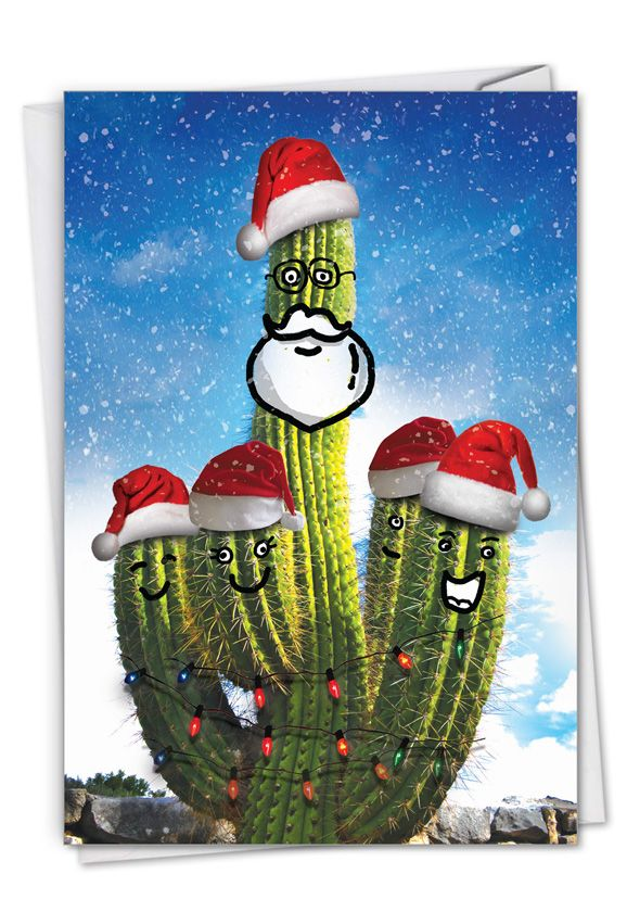 Santa's Cactus - Beard: Creative Merry Christmas Printed Greeting Card