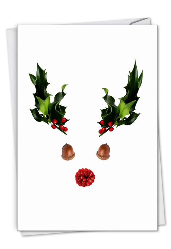 Abstract Reindeer - Acorn: Creative Merry Christmas Greeting Card