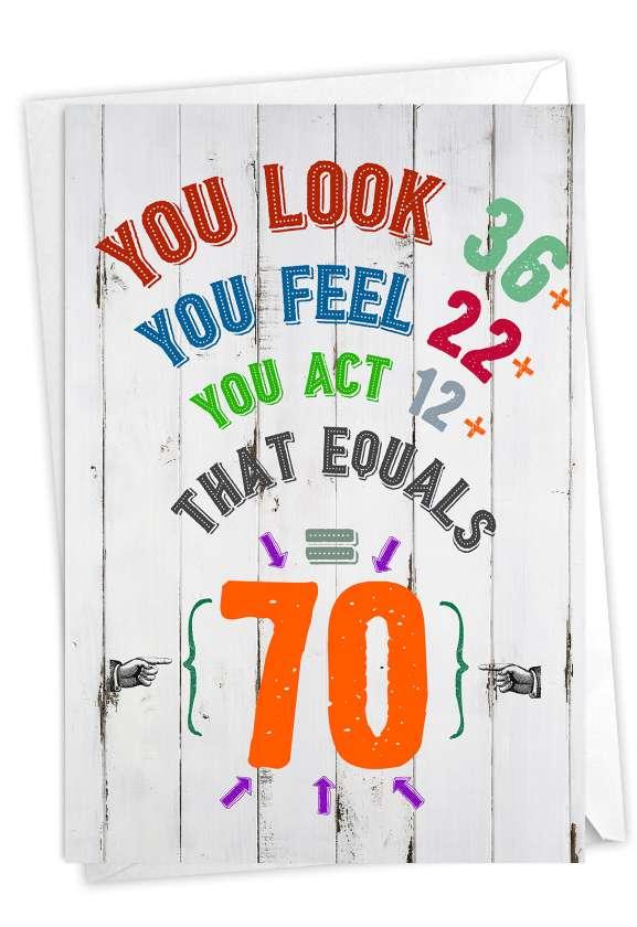 Age Equation-70: Funny Milestone Birthday Card