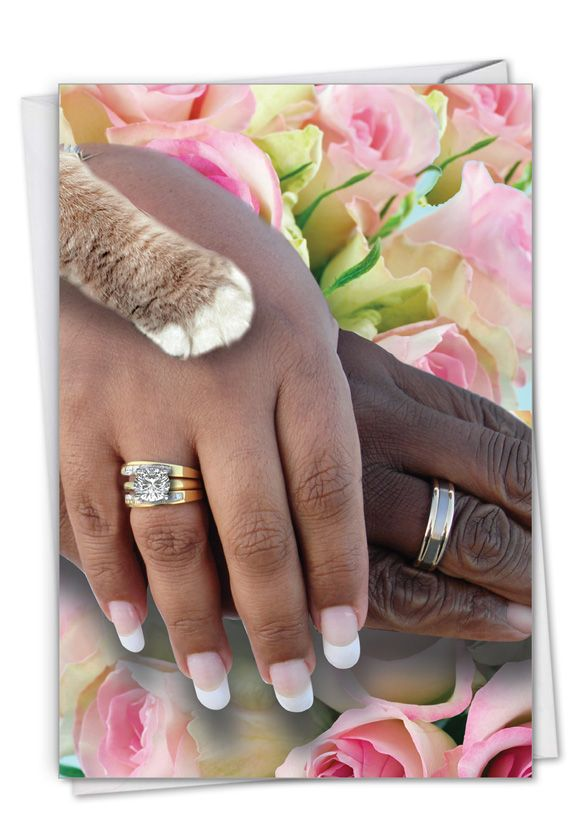 Hands And Cat Paw - People of Color: Hilarious Wedding Congratulations Printed Greeting Card