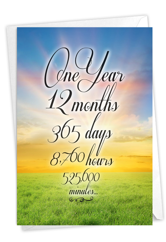 1 Year Time Count: Stylish Recovery Paper Card