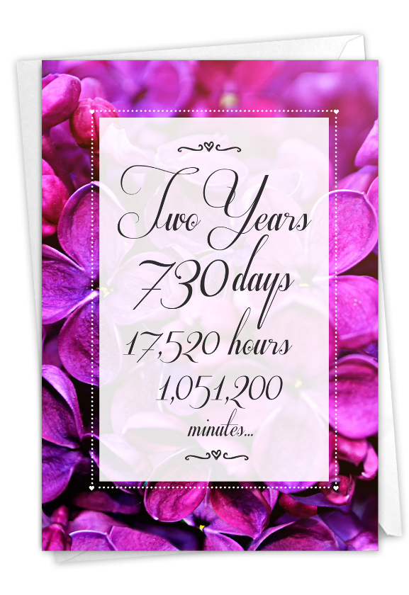 2 Year Time Count: Humorous Milestone Anniversary Paper Card