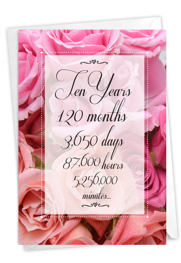 10 Year Time Count: Stylish Milestone Anniversary Card