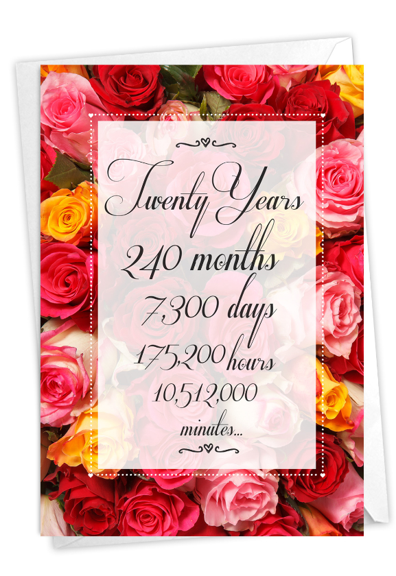 20 Year Time Count: Creative Milestone Anniversary Greeting Card