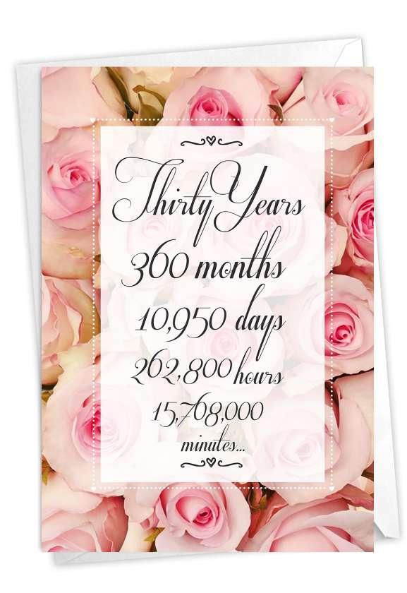 30 Year Time Count: Creative Milestone Anniversary Printed Card