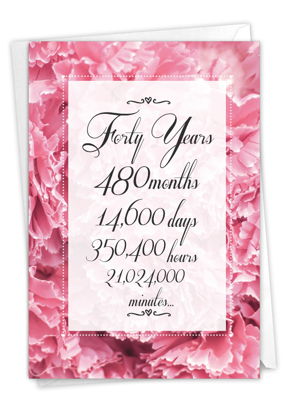 40 Year Time Count: Hilarious Milestone Anniversary Printed Greeting Card