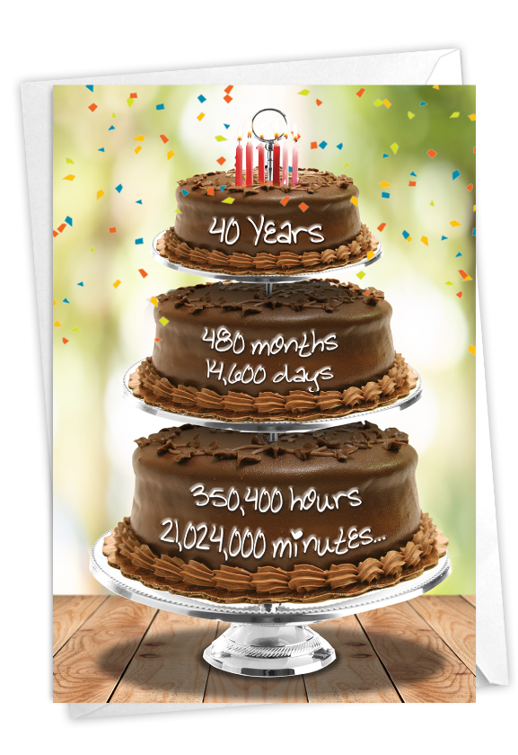 40 Year Time Count: Creative Milestone Birthday Printed Greeting Card