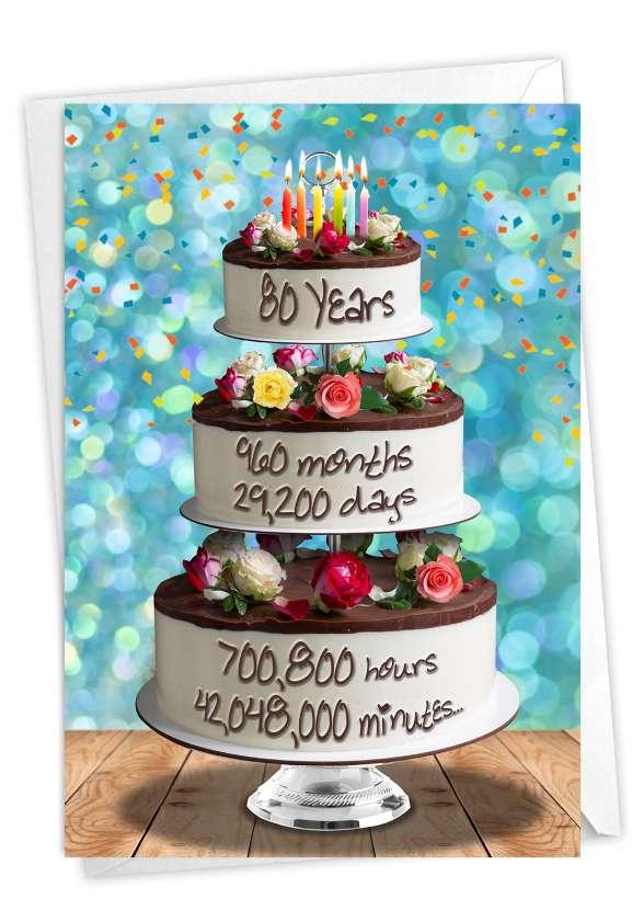 80 Year Time Count: Creative Milestone Birthday Printed Card