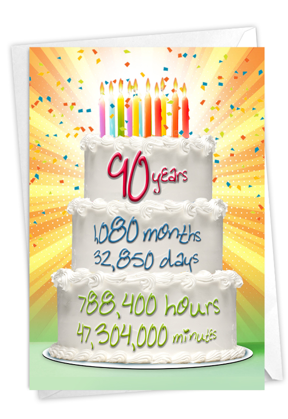 90 Year Time Count: Stylish Milestone Birthday Paper Greeting Card