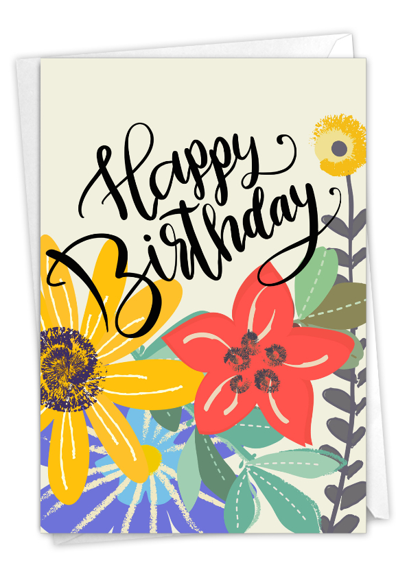 Blooming Wishes: Creative Birthday Printed Greeting Card