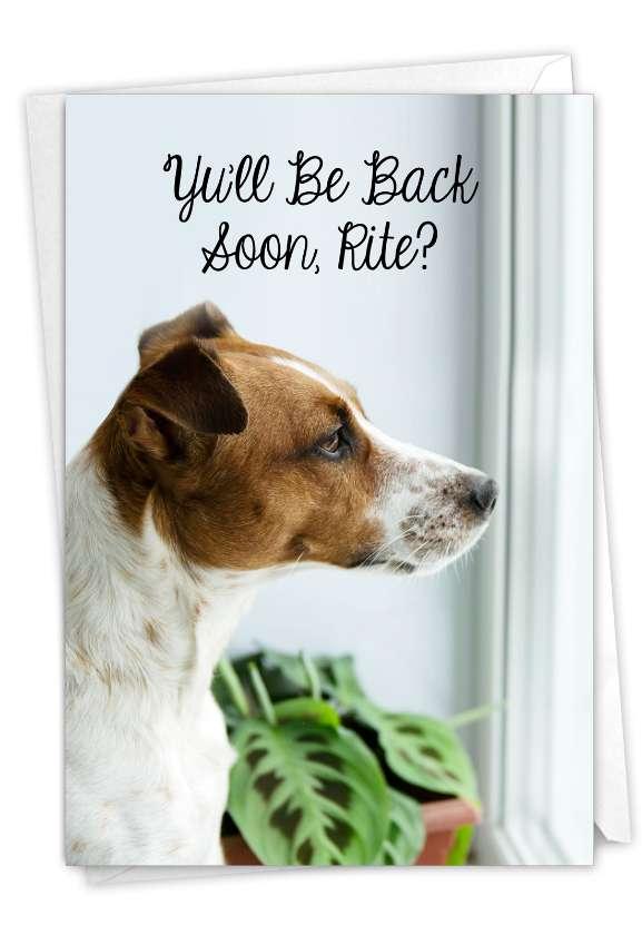 Miss U Doggies - Back Soon: Artistic Miss You Paper Card