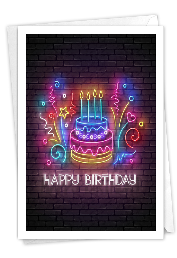 Glowing Wishes - Cake: Artful Birthday Printed Greeting Card