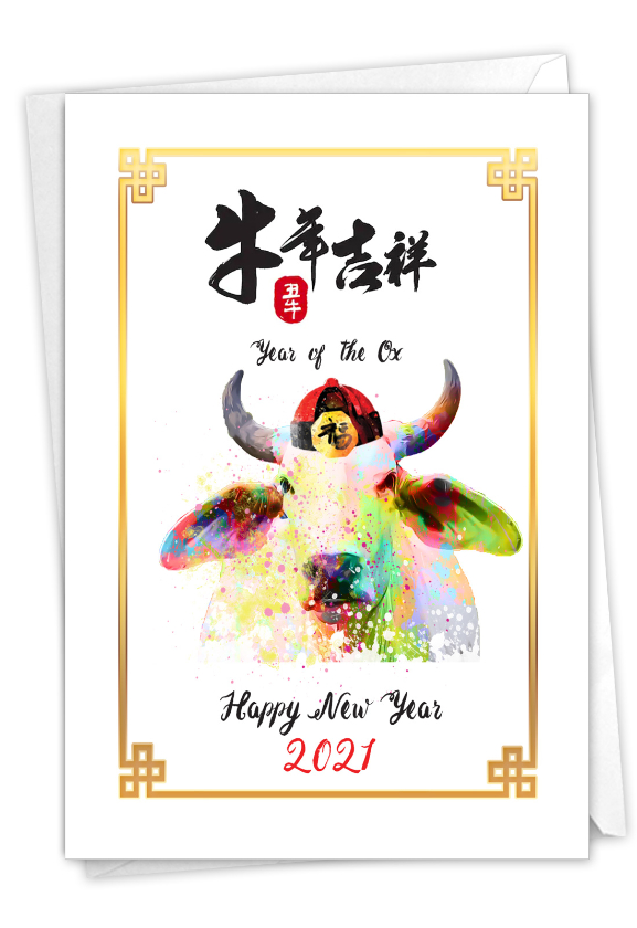 Year of the Ox: Artistic Chinese New Year Greeting Card