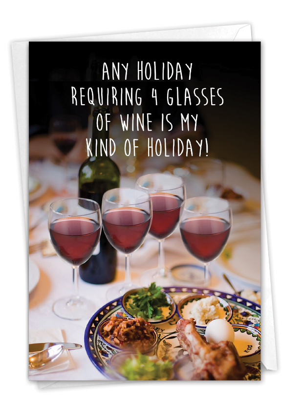 Four Glasses of Wine: Humorous Passover Paper Card
