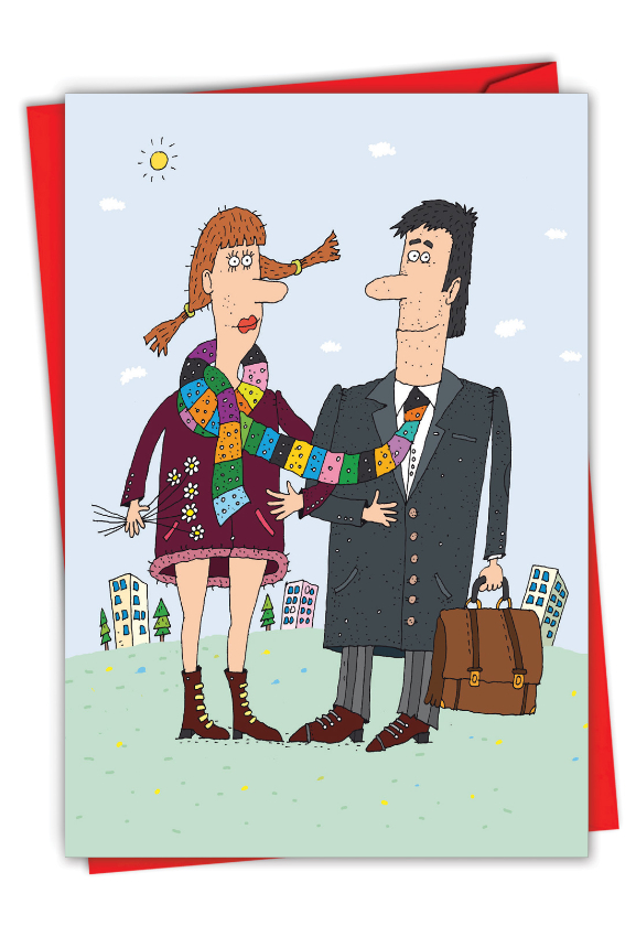 Scarf Couple: Hysterical Valentine's Day Printed Greeting Card