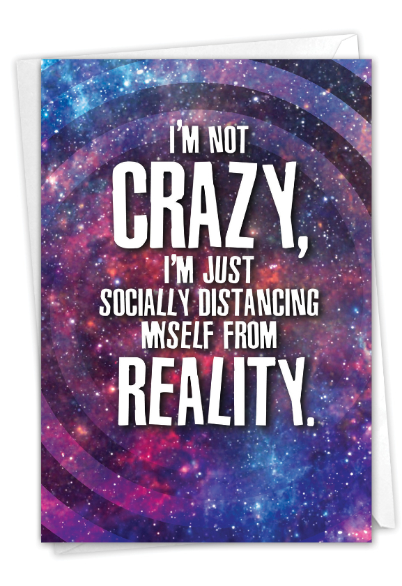 Distanced From Reality: Funny Friendship Paper Greeting Card