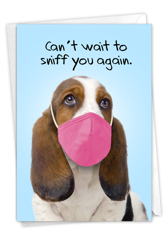 Masked Dogs - Beagle: Hysterical Miss You Greeting Card