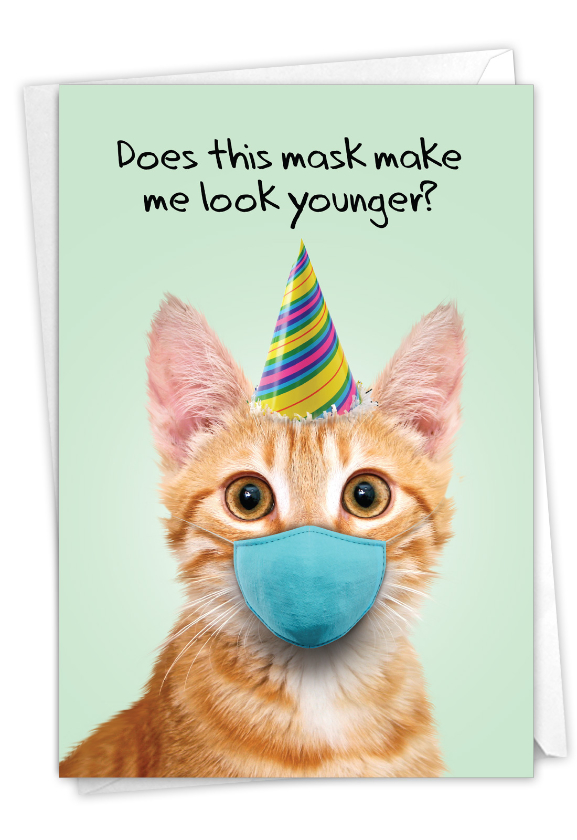 Masked Cats - Orange Tabby: Humorous Birthday Paper Greeting Card