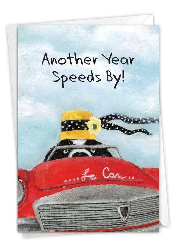 Driving Divas - Dog: Artistic Birthday Printed Greeting Card