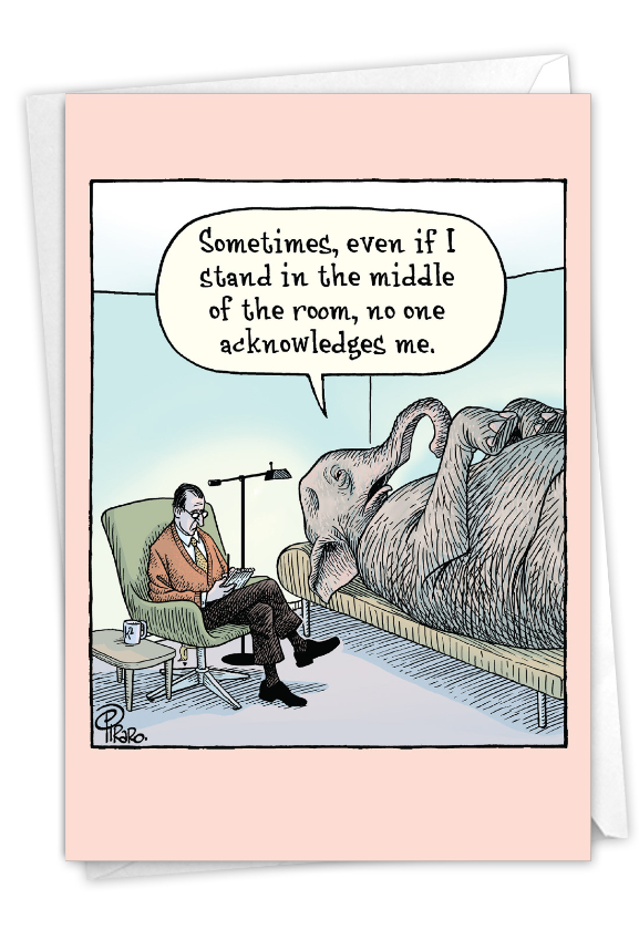 Elephant In Room: Hilarious Birthday Printed Greeting Card