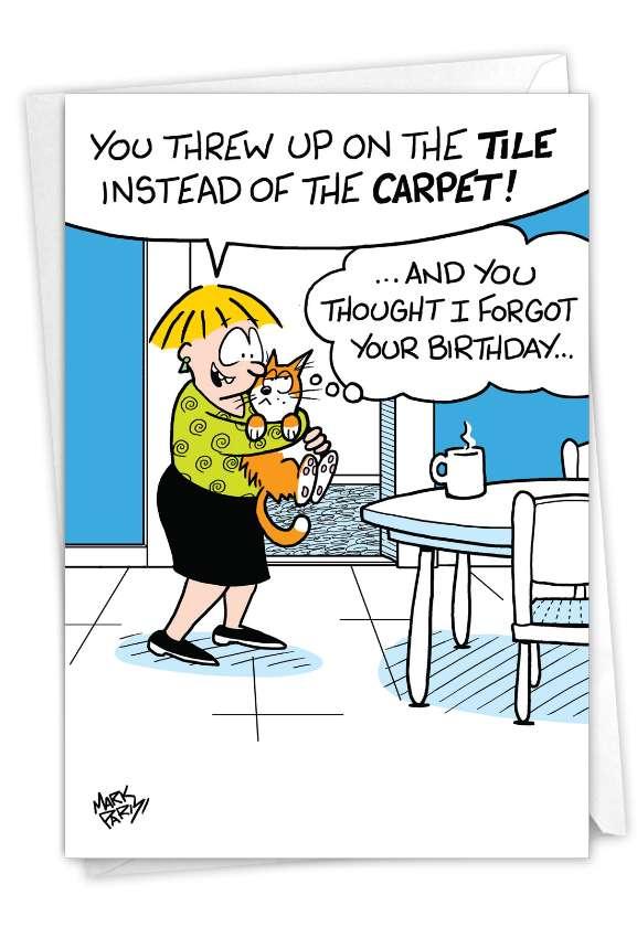 Cat Present: Humorous Belated Birthday Card