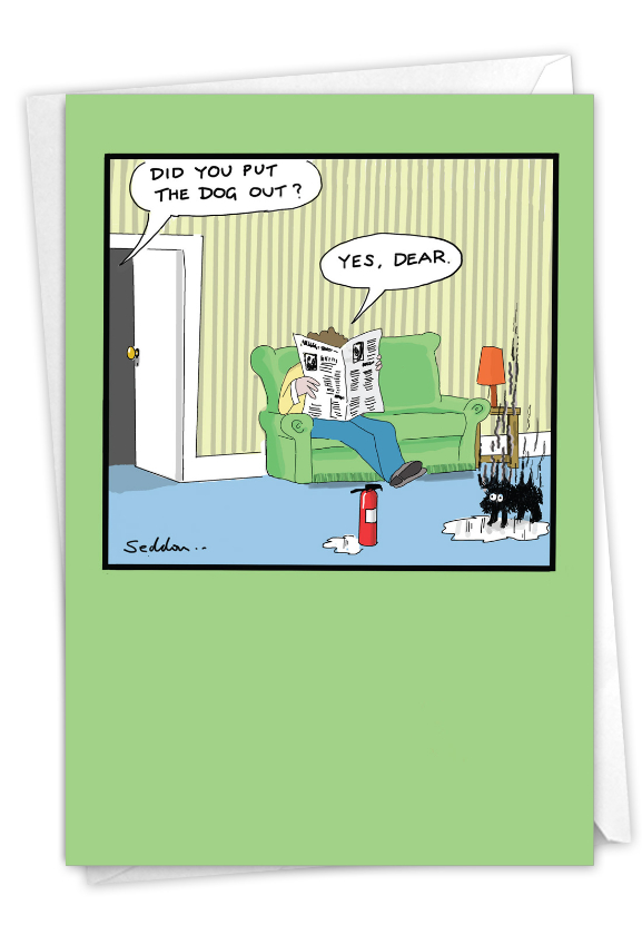 Dog Out: Funny Birthday Paper Card