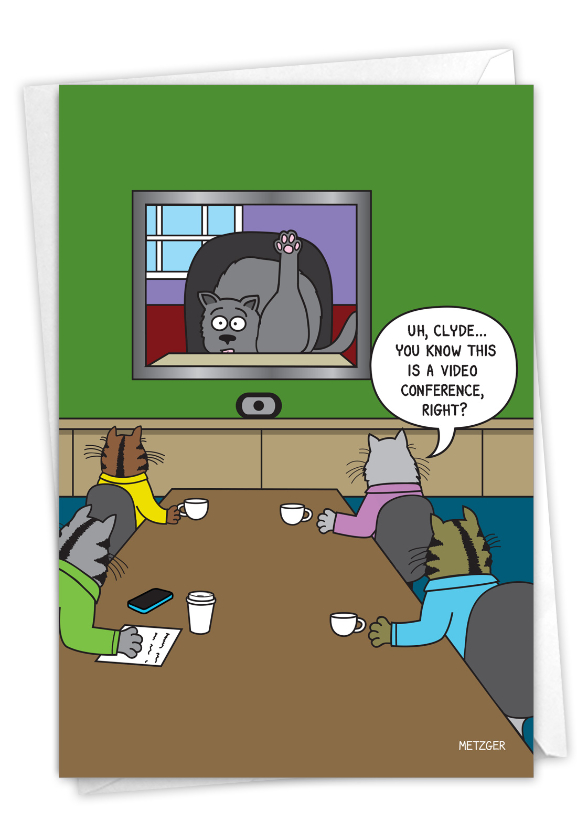 Cat Video Conference: Humorous Birthday Card