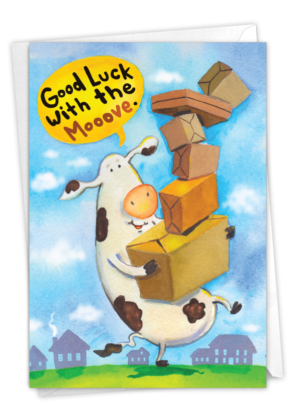 Cow Mooove: Funny New Home Paper Card