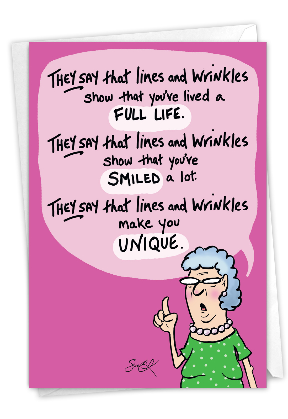 Lines and Wrinkles: Hilarious Birthday Printed Card