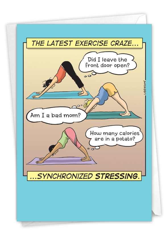 Synchronized Stressing: Humorous Birthday Paper Greeting Card