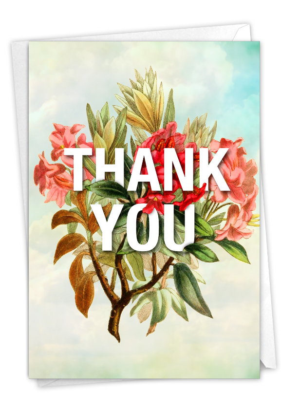Timely Thanks: Artistic Thank You Blank Printed Greeting Card