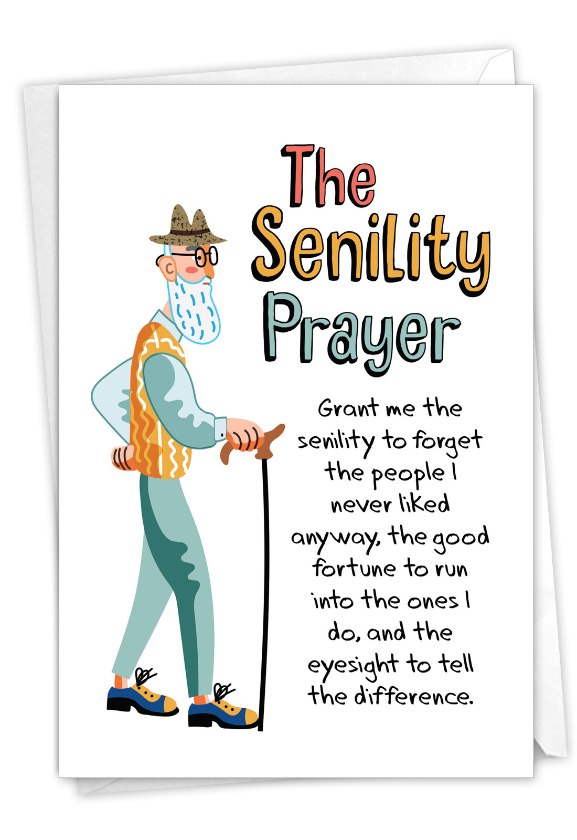 Man's Senility Prayer: Hilarious Birthday Greeting Card