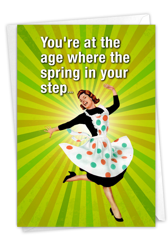 Spring In Step: Funny Birthday Paper Greeting Card