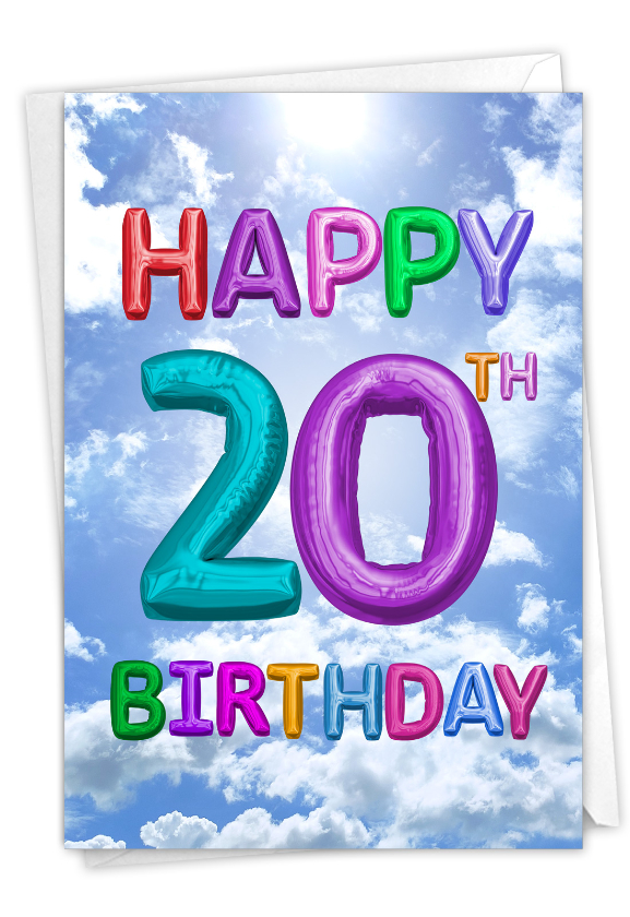Inflated Messages - 20: Humorous Milestone Birthday Paper Greeting Card