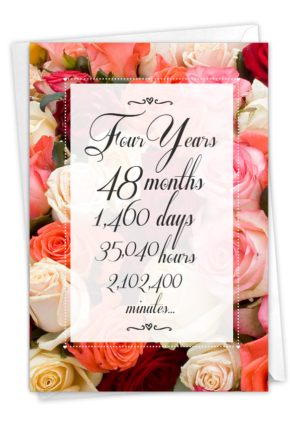 4 Year Time Count: Funny Milestone Anniversary Paper Card