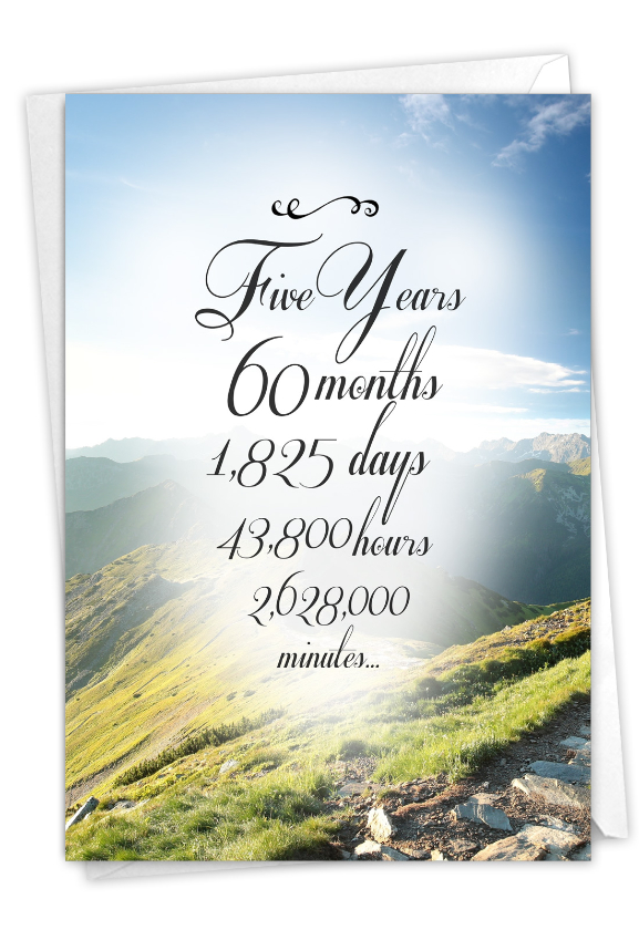 5 Year Time Count: Hilarious Recovery Printed Card