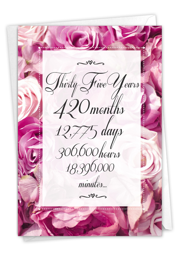 35 Year Time Count: Humorous Milestone Anniversary Paper Card