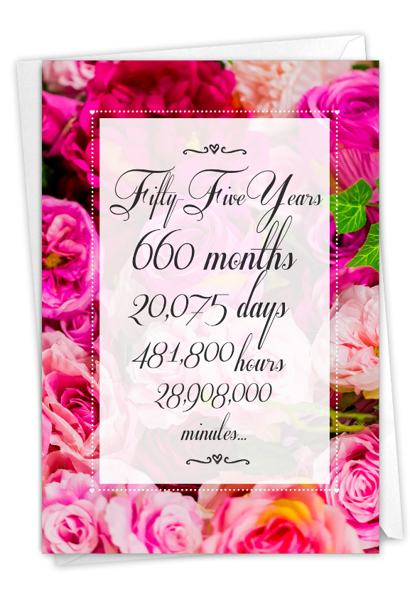 55 Year Time Count: Funny Milestone Anniversary Paper Greeting Card