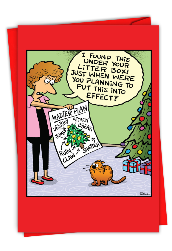 Humorous Merry Christmas Paper Card By Bill Whitehead From NobleWorksCards.com - Master Plan
