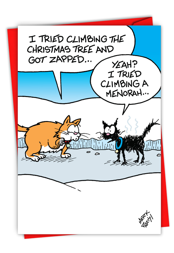 Hysterical Merry Christmas Printed Greeting Card By Mark Parisi From NobleWorksCards.com - Menorah Tree