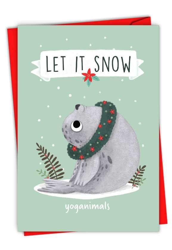 Holiday Yoganimals-Seal: Hilarious Merry Christmas Printed Greeting Card
