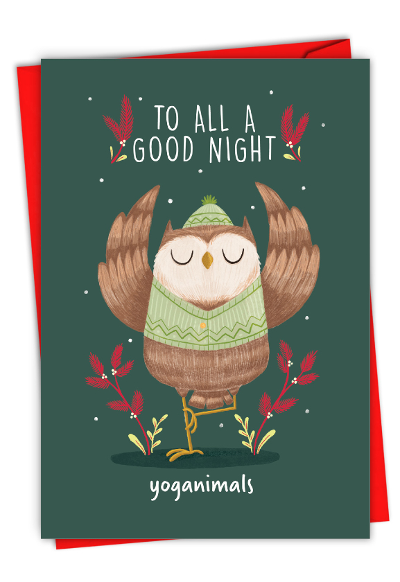 Humorous Merry Christmas Card By Ashley Spires From NobleWorksCards.com - Holiday Yoganimals-Owl